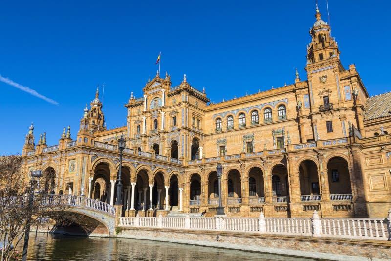 Plaza de西班牙西班牙广场在塞维利亚,安大路西亚,西班牙 免版税库存照片