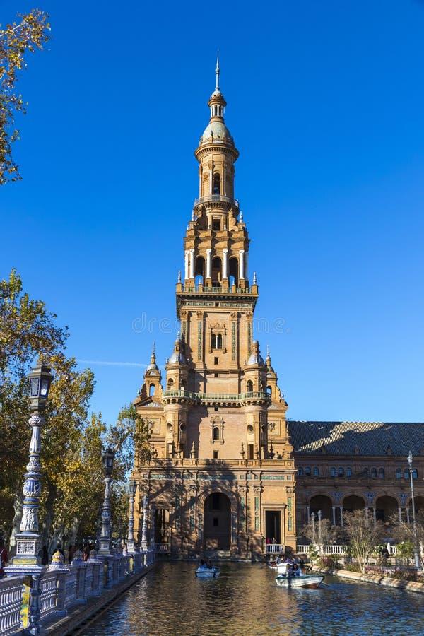 Plaza de西班牙西班牙广场在塞维利亚,安大路西亚,西班牙 库存图片