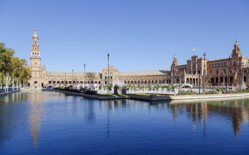 Plaza de西班牙-西班牙正方形在塞维利亚,西班牙 库存照片