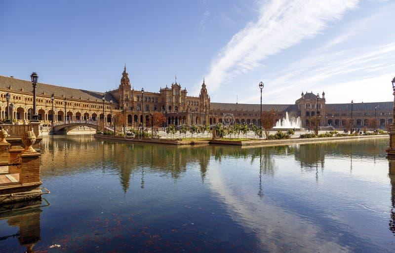 Plaza de西班牙-西班牙正方形在塞维利亚,西班牙 免版税库存照片