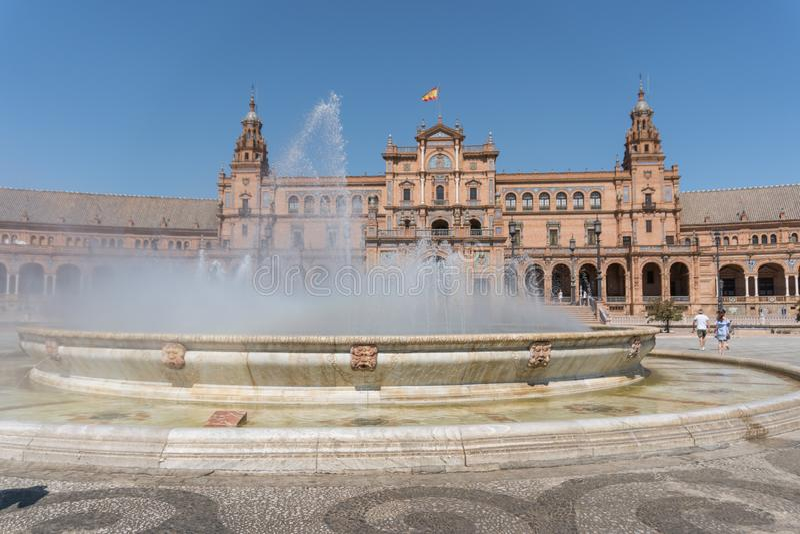 Plaza De西班牙At白天,塞维利亚西班牙 免版税图库摄影