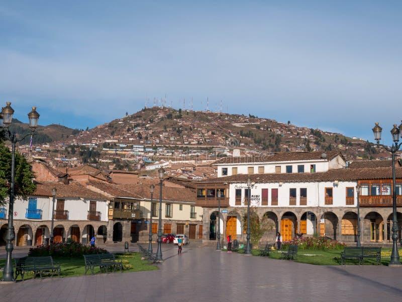 Plaza de阿玛斯,大广场在库斯科,秘鲁 免版税库存图片