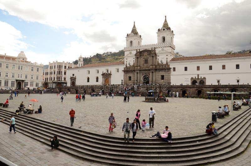 Plaza de Σαν Φρανσίσκο, Κουίτο, Ισημερινός στοκ εικόνες με δικαίωμα ελεύθερης χρήσης