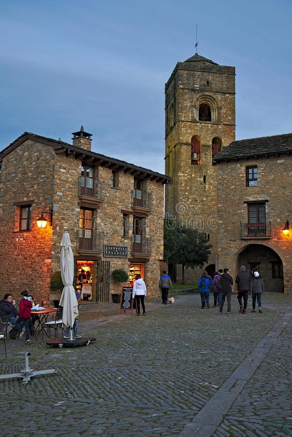 Dusk in the Ainsa village. Plaza de Ainsa in the historic center of the town, Aragon, Spain royalty free stock images