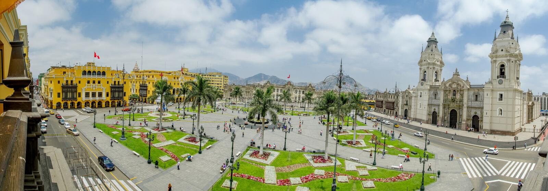 Plaza de armas στη Λίμα, Περού 180 όψη στοκ εικόνες