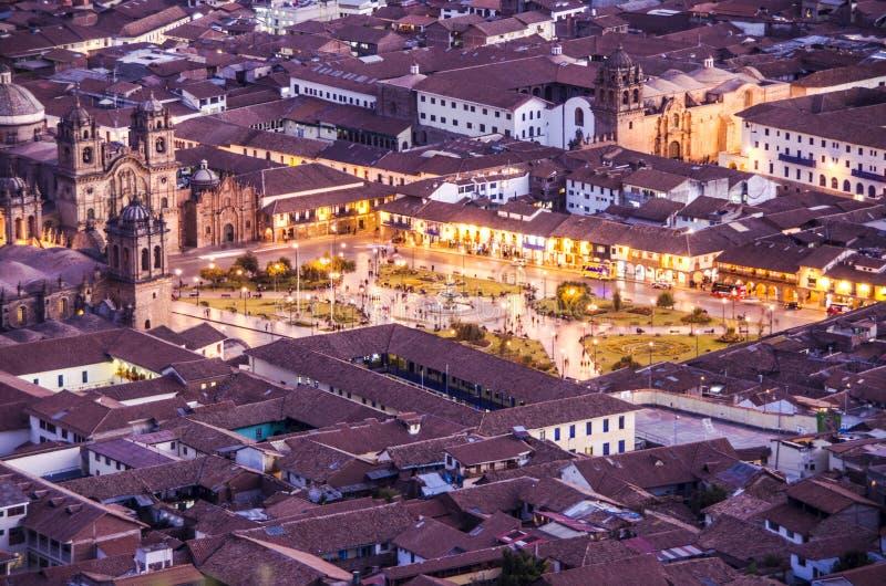 Plaza de Armas, Cuzco, Peru. Overview of the city of Cuzco, Peru royalty free stock image