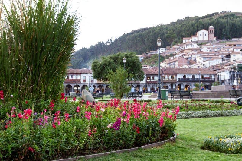Plaza de Armas, jardin dans Cusco photo libre de droits