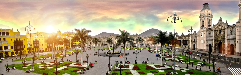 Plaza de armas de lima Peru arkivbilder