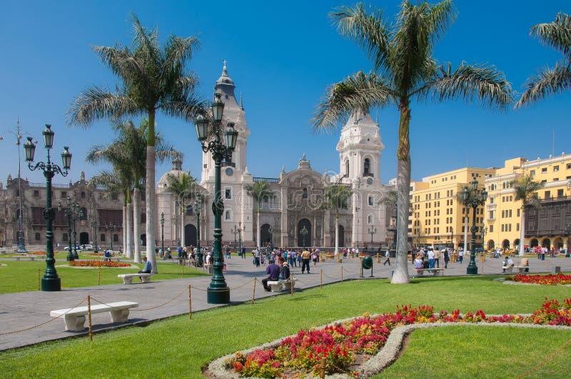 Plaza de Armas in Lima Peru lizenzfreies stockbild