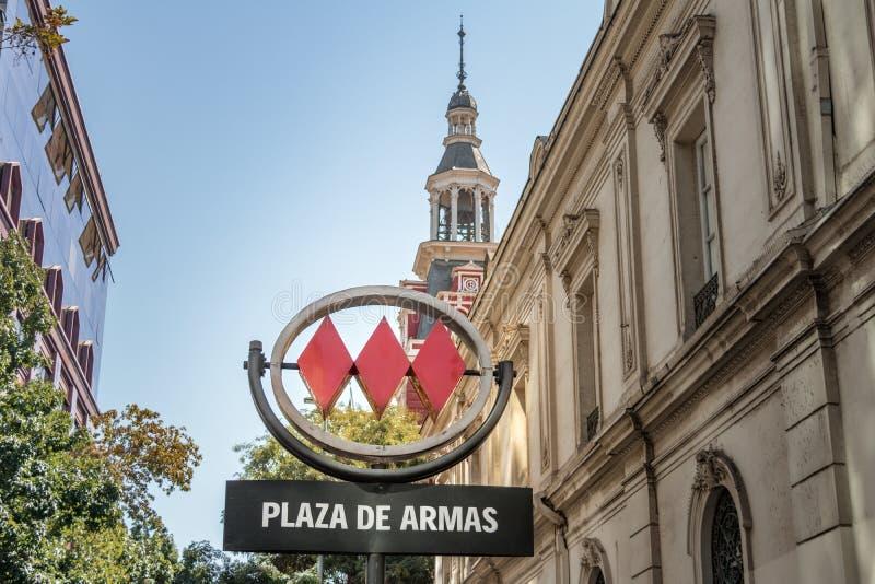 Plaza de Armas Metro σημάδι - Σαντιάγο, Χιλή στοκ φωτογραφία με δικαίωμα ελεύθερης χρήσης