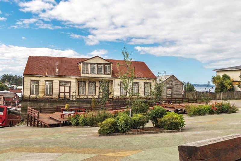 Plaza de Armas Square - Chonchi, isla de Chiloe, Chile imagen de archivo