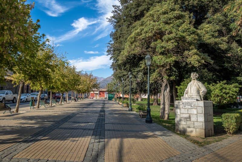 Plaza de Armas Square en la ciudad de San Jose de Maipo en Cajon del Maipo - Chile fotografía de archivo libre de regalías