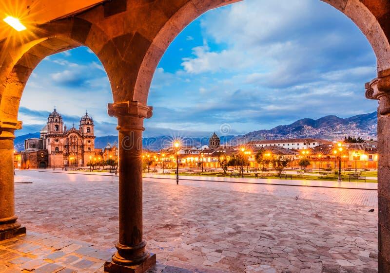 Plaza de Armas temprano por la mañana, Cusco, Perú foto de archivo