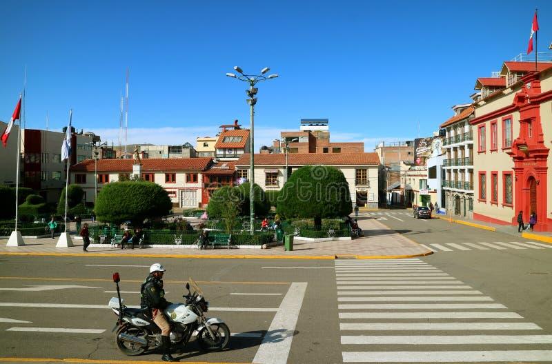 Plaza de Armaz, the Main Square of Puno Town, Peru stock images
