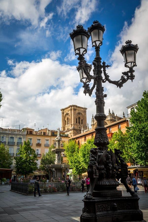 Plaza de Babador-Rambla, Granada fotografia de stock