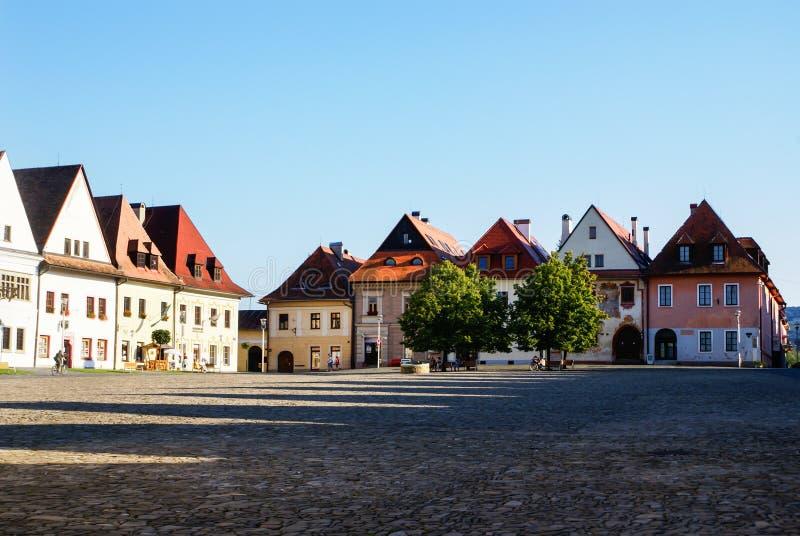 Plaza de Bardejov eslovaco. imagen de archivo