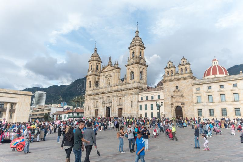 Plaza DE Bolivar en de Kathedraal van Bogota royalty-vrije stock foto's