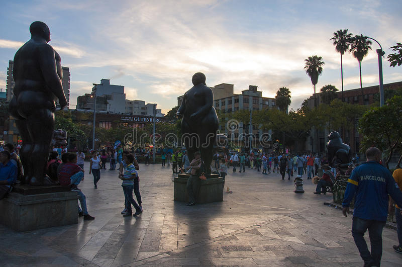 Plaza de Botero em Medellin, Colômbia fotografia de stock royalty free