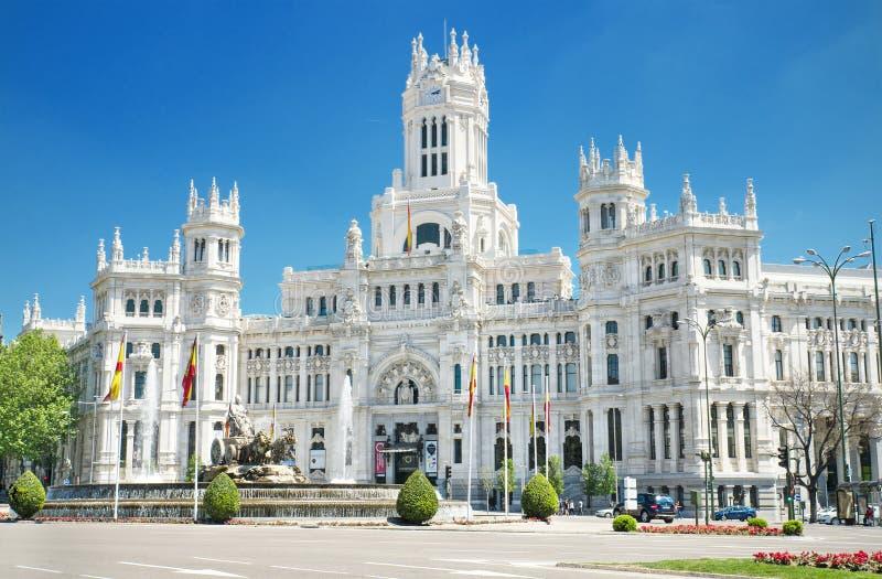 Plaza de Cibeles和帕拉西奥de Comunicaciones,著名地标在马德里,西班牙 免版税库存图片