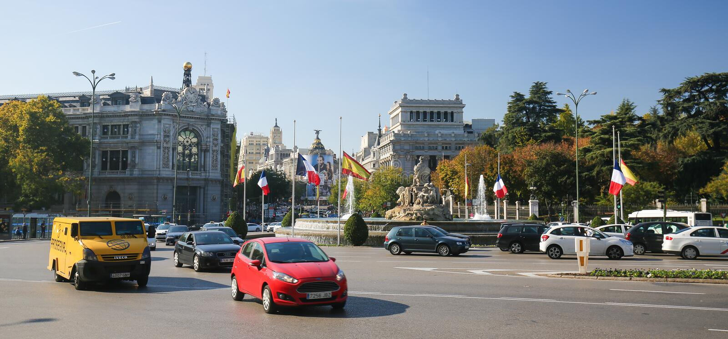 Plaza de Cibeles在马德里,西班牙 库存照片