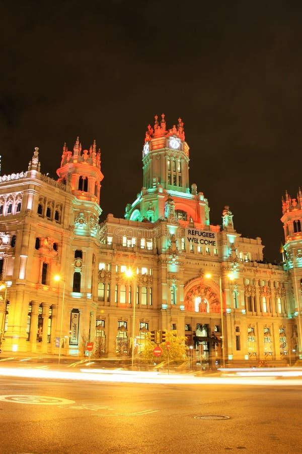 Plaza de Cibeles em Madrid, Spain na noite foto de stock royalty free