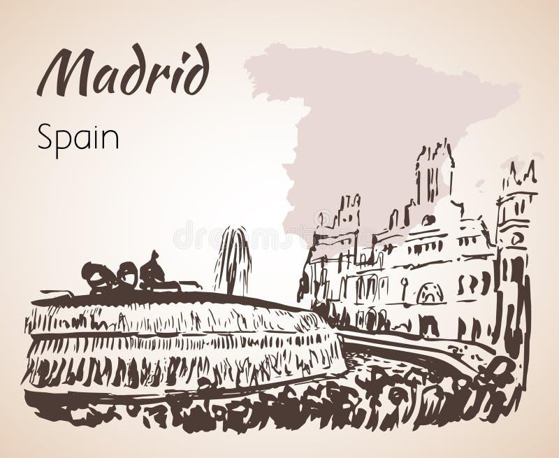 Plaza de Cibeles Fountain和正方形 马德里 皇族释放例证