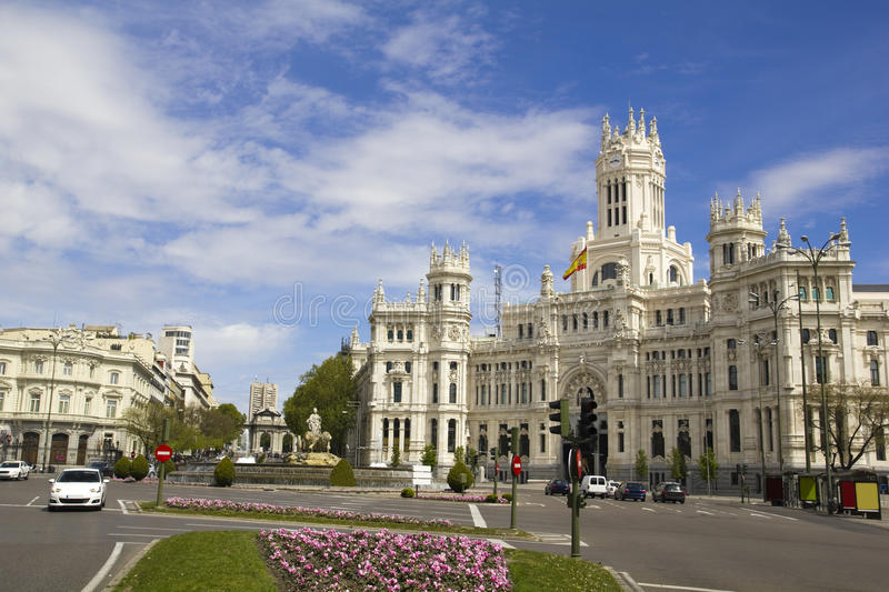 Plaza de Cibeles in Madrid, Spain. With Cibeles Fountain and the Royal Mail office in the background (Palacio de Comunicaciones or Correos stock photo