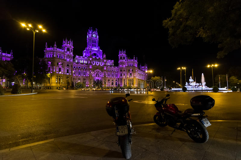 Plaza de Cibeles, Madrid. MADRID, SPAIN - October 2015: Plaza de Cibeles with Palacio de Comunicaciones, Madrid, Spain royalty free stock images