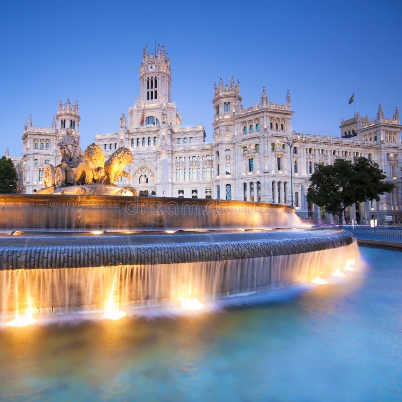 Plaza DE Cibeles, Madrid, Spanje. stock foto's