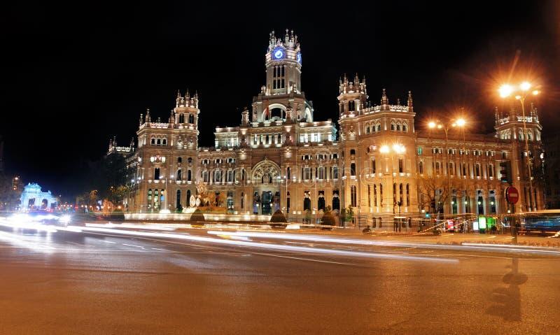 Plaza de Cibeles by Night, Madrid, Spain stock photos