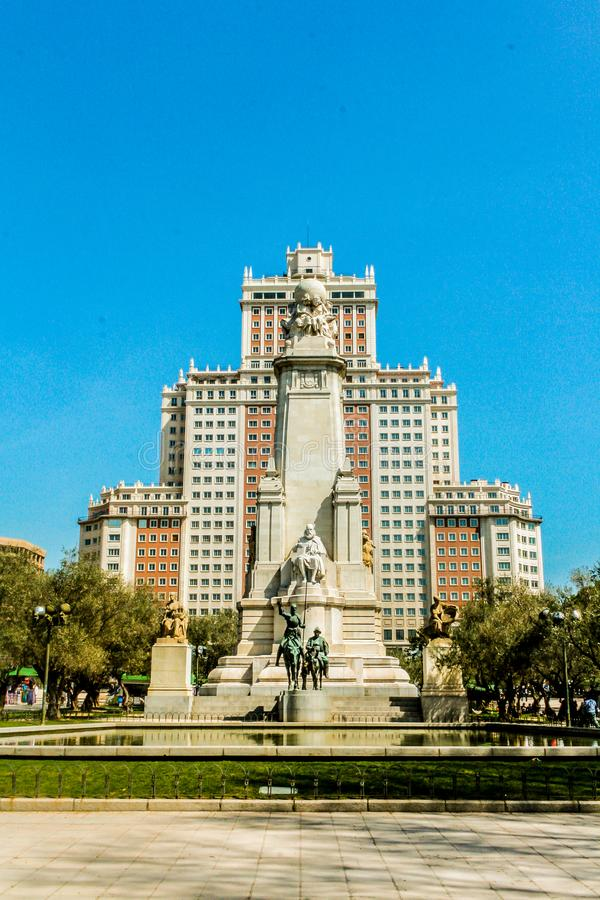 Plaza de España, στη Μαδρίτη άγαλμα Don Δον Κιχώτης στοκ εικόνες