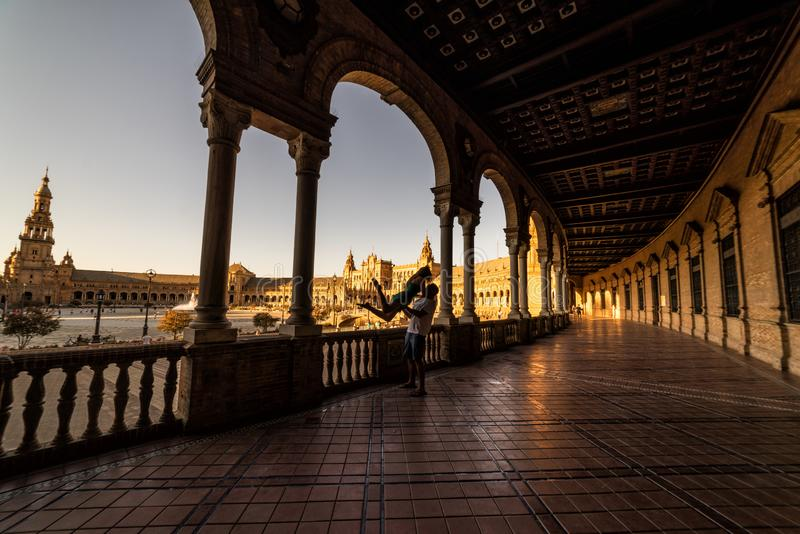 Plaza de España en la puesta del sol Sevilla Sevilla Spain fotos de archivo libres de regalías