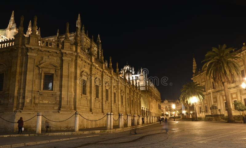 Plaza de Espaňa in Seville at night. The Spanish world between fun and sacrality royalty free stock images