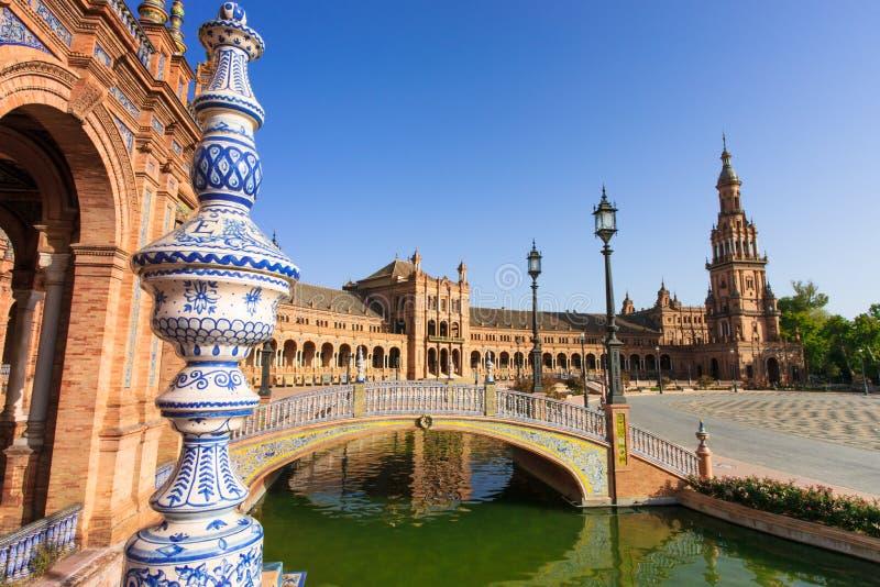 Famoso Plaza de Espana, Sevilha, Spain imagem de stock royalty free