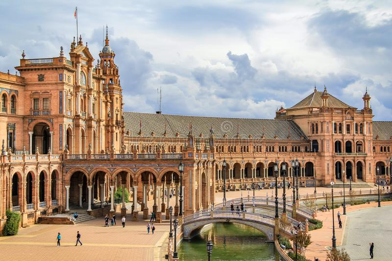 Plaza de España in Sevilla royalty free stock photography