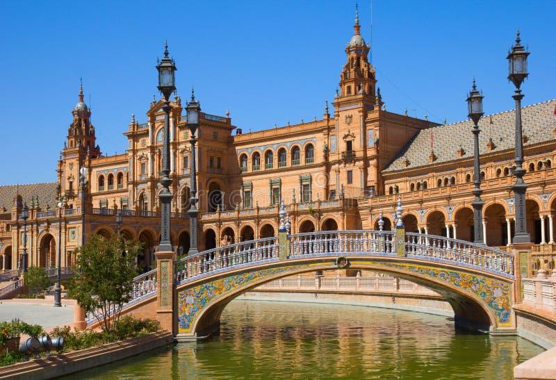 plaza de Espa桥梁?a,塞维利亚,西班牙 免版税库存照片