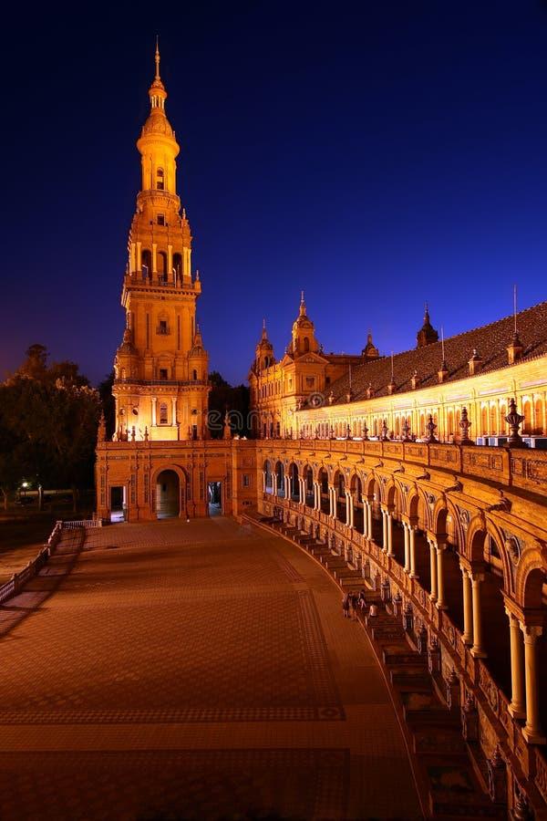 Plaza de Espana alla notte immagine stock