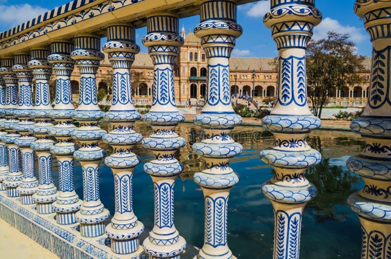 Plaza de Espana Balustrad detalj, Sevilla, Andalusia, Spanien arkivbilder