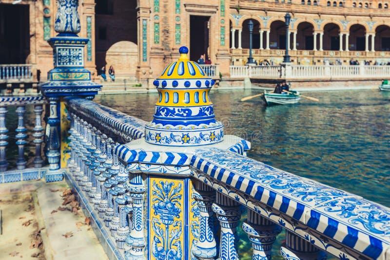 Plaza de Espana Balustrade Detail, Sevilla, Spain stock photos