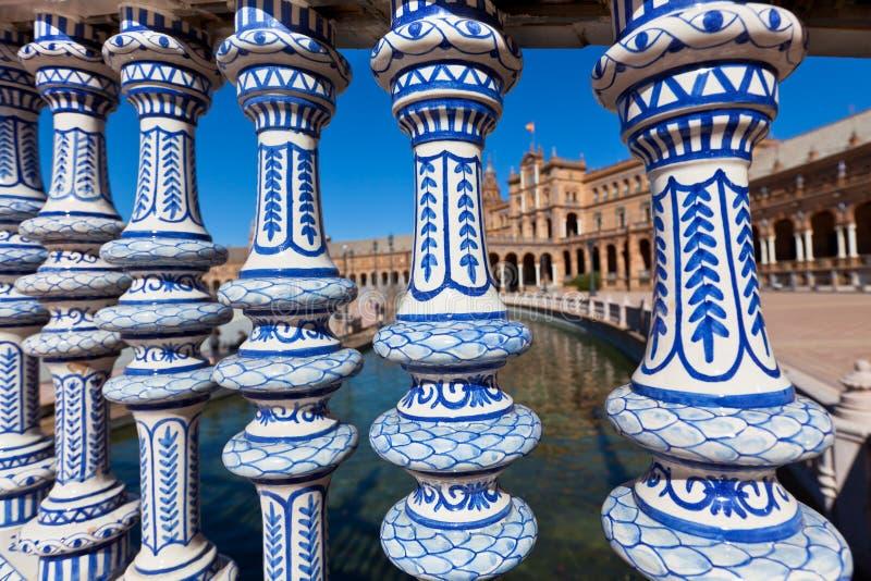 Plaza de Espana Balustrade Detail, Sevilla, Spain royalty free stock photo
