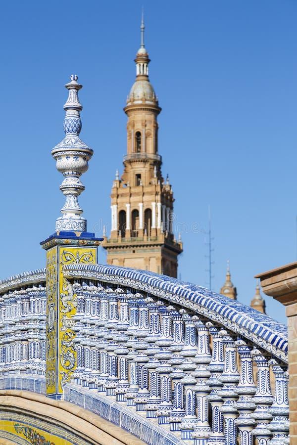 Plaza de Espana - cuadrado español en Sevilla, España fotografía de archivo libre de regalías