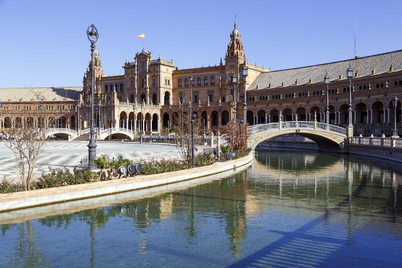 Plaza de Espana - cuadrado español en Sevilla, España foto de archivo libre de regalías