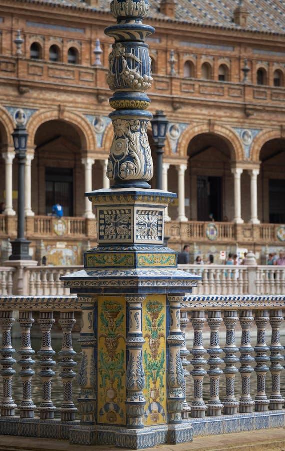 Plaza DE Espana, de details van het Tegelwerk stock afbeeldingen