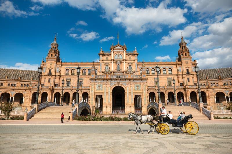 Plaza de Espana i Seville, Andalusia fotografering för bildbyråer