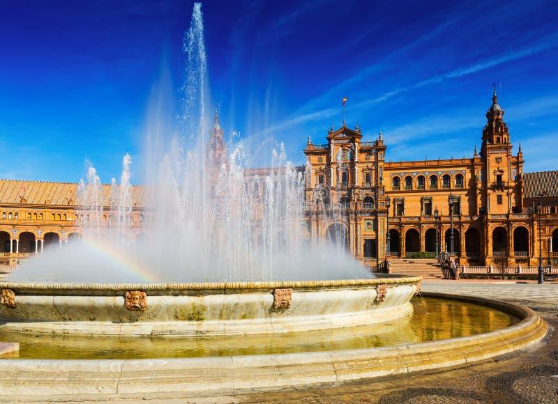 Plaza DE Espana met fontein Sevilla stock foto's