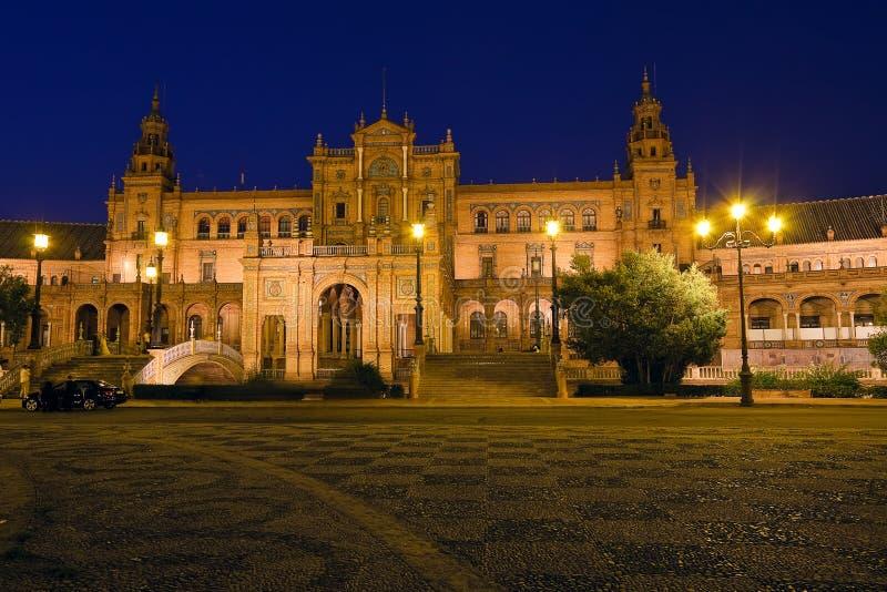 Plaza de Espana nachts stockfotografie