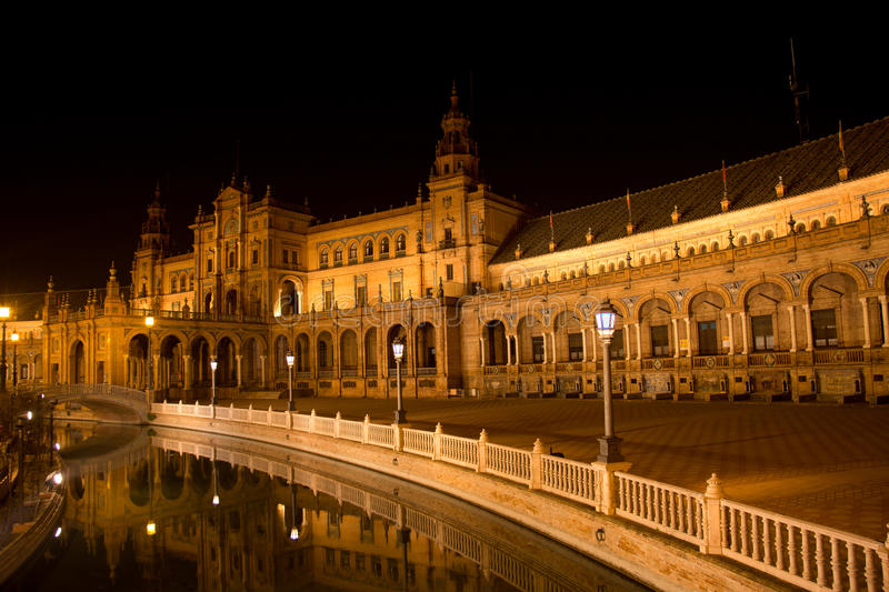Plaza de Espana in Sevilla Andalucia. The beautiful view of the Spanish Square in the night stock photography