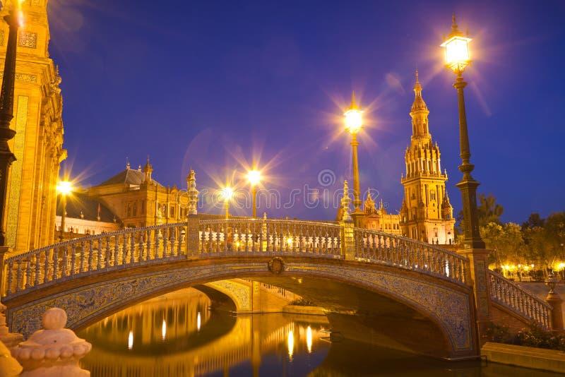Plaza de Espana in Sevilla at night stock photos
