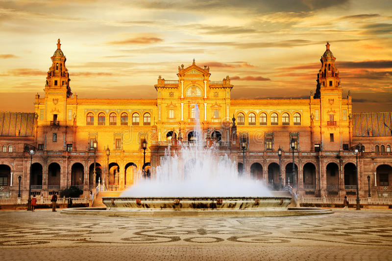 Plaza de Espana, Sevilla, Spain. Beautiful Plaza de Espana on sunset, Sevilla, Spain royalty free stock images