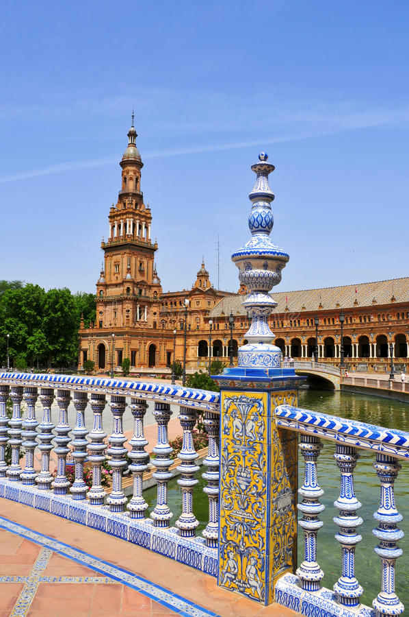 Plaza de Espana, in Sevilla, Spanien stockbilder